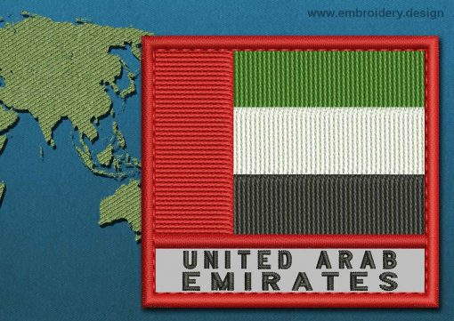 This Flag of United Arab Emirates Text with a Colour Coded border design was digitized and embroidered by www.embroidery.design.