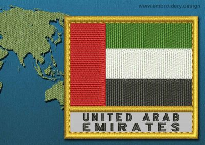 This Flag of United Arab Emirates Text with a Gold border design was digitized and embroidered by www.embroidery.design.