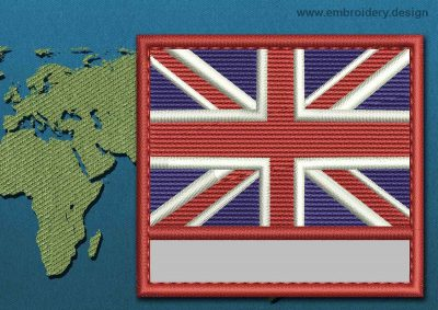 This Flag of United Kingdom Customizable Text  with a Colour Coded border design was digitized and embroidered by www.embroidery.design.