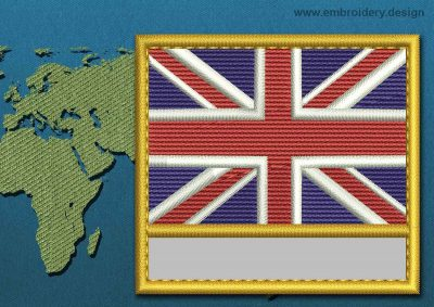 This Flag of United Kingdom Customizable Text  with a Gold border design was digitized and embroidered by www.embroidery.design.
