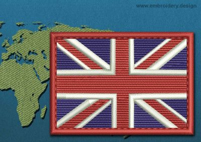 This Flag of United Kingdom Rectangle with a Colour Coded border design was digitized and embroidered by www.embroidery.design.