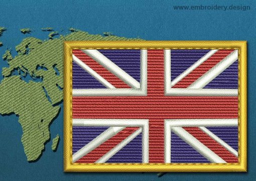 This Flag of United Kingdom Rectangle with a Gold border design was digitized and embroidered by www.embroidery.design.