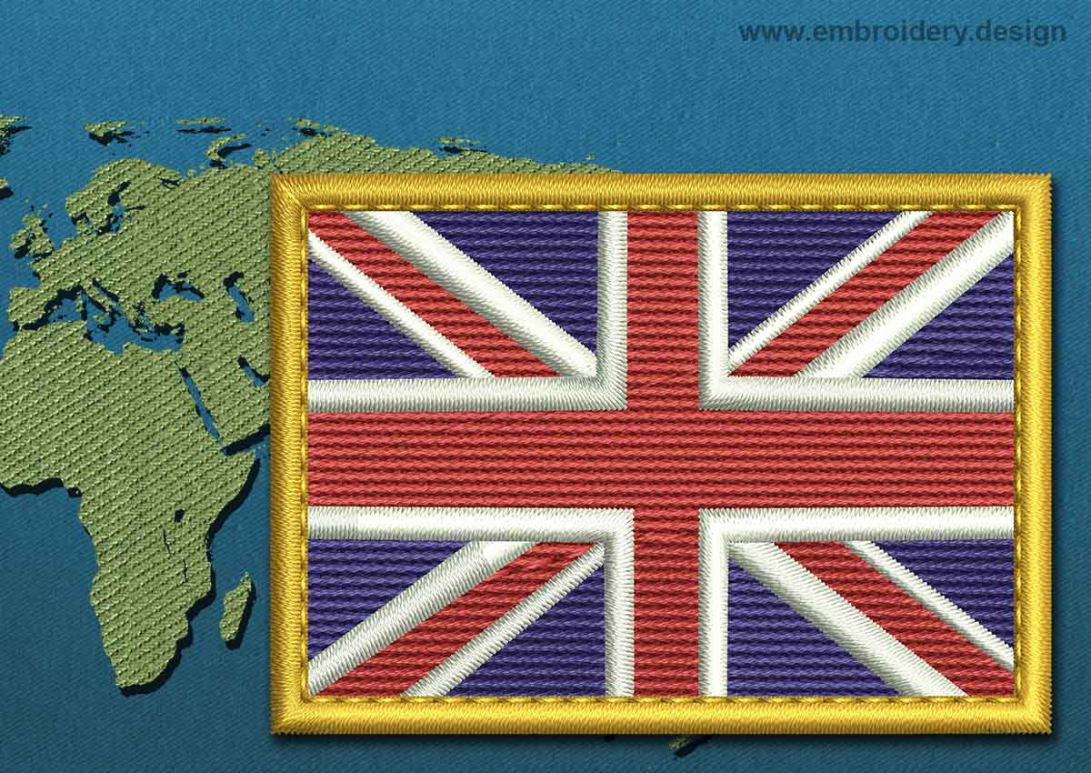 united kingdom rectangle flag embroidery design with a gold border. Black Bedroom Furniture Sets. Home Design Ideas