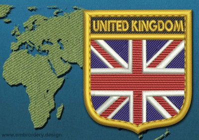 This Flag of United Kingdom Shield with a Gold border design was digitized and embroidered by www.embroidery.design.