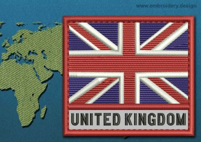 This Flag of United Kingdom Text with a Colour Coded border design was digitized and embroidered by www.embroidery.design.