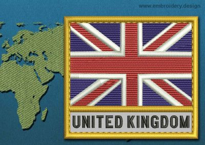 This Flag of United Kingdom Text with a Gold border design was digitized and embroidered by www.embroidery.design.
