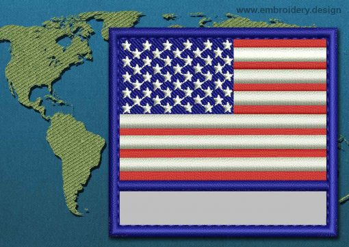 This Flag of United States of America Customizable Text  with a Colour Coded border design was digitized and embroidered by www.embroidery.design.