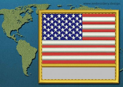 This Flag of United States of America Customizable Text  with a Gold border design was digitized and embroidered by www.embroidery.design.