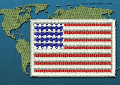 This Flag of United States of America Mini with a Colour Coded border design was digitized and embroidered by www.embroidery.design.
