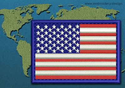 This Flag of United States of America Rectangle with a Colour Coded border design was digitized and embroidered by www.embroidery.design.