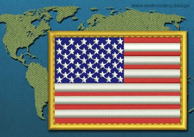 This Flag of United States of America Rectangle with a Gold border design was digitized and embroidered by www.embroidery.design.