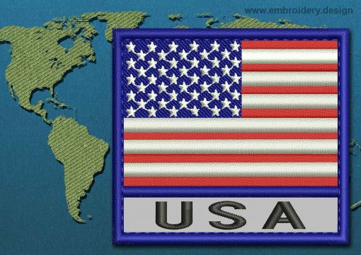 This Flag of United States of America Text with a Colour Coded border design was digitized and embroidered by www.embroidery.design.
