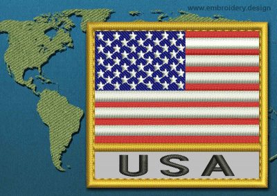 This Flag of United States of America Text with a Gold border design was digitized and embroidered by www.embroidery.design.