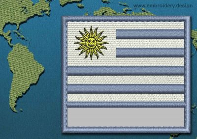 This Flag of Uruguay Customizable Text  with a Colour Coded border design was digitized and embroidered by www.embroidery.design.