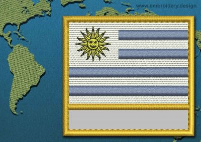 This Flag of Uruguay Customizable Text  with a Gold border design was digitized and embroidered by www.embroidery.design.