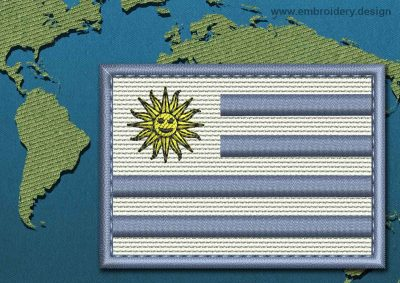 This Flag of Uruguay Rectangle with a Colour Coded border design was digitized and embroidered by www.embroidery.design.