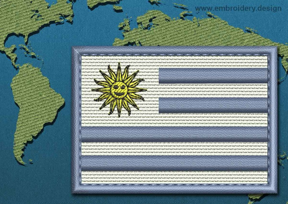 Uruguay Rectangle Flag with a Colour Coded Border