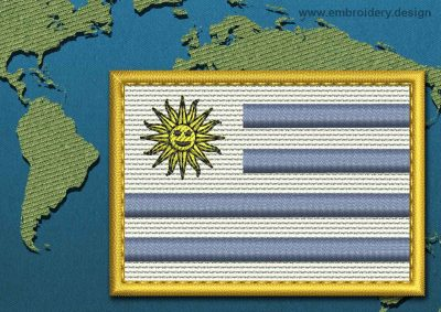 This Flag of Uruguay Rectangle with a Gold border design was digitized and embroidered by www.embroidery.design.