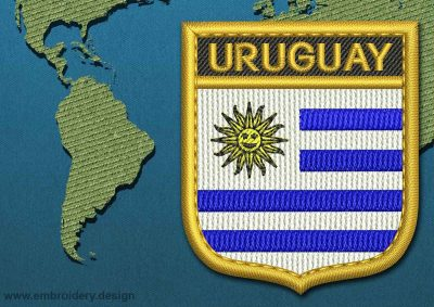 This Flag of Uruguay Shield with a Gold border design was digitized and embroidered by www.embroidery.design.
