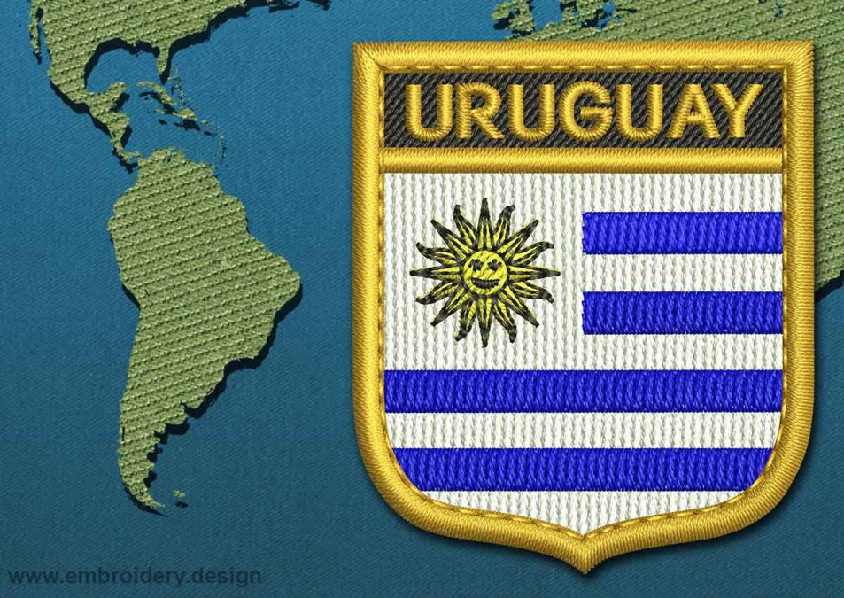 Uruguay Shield Flag with a Gold Border