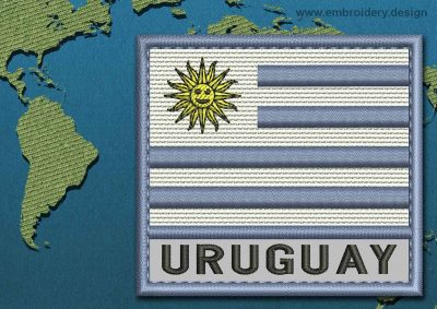 This Flag of Uruguay Text with a Colour Coded border design was digitized and embroidered by www.embroidery.design.