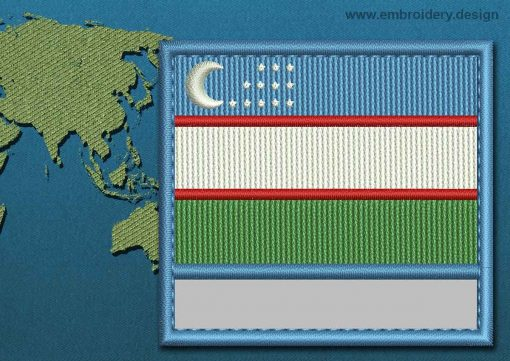 This Flag of Uzbekistan Customizable Text  with a Colour Coded border design was digitized and embroidered by www.embroidery.design.