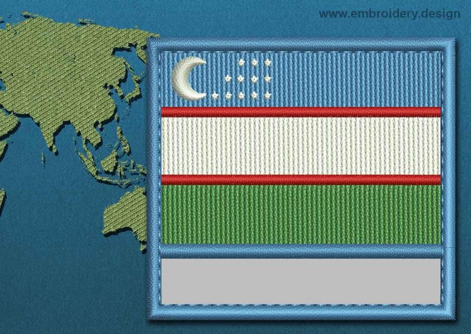 Uzbekistan Customizable Text Flag with a Colour Coded Border