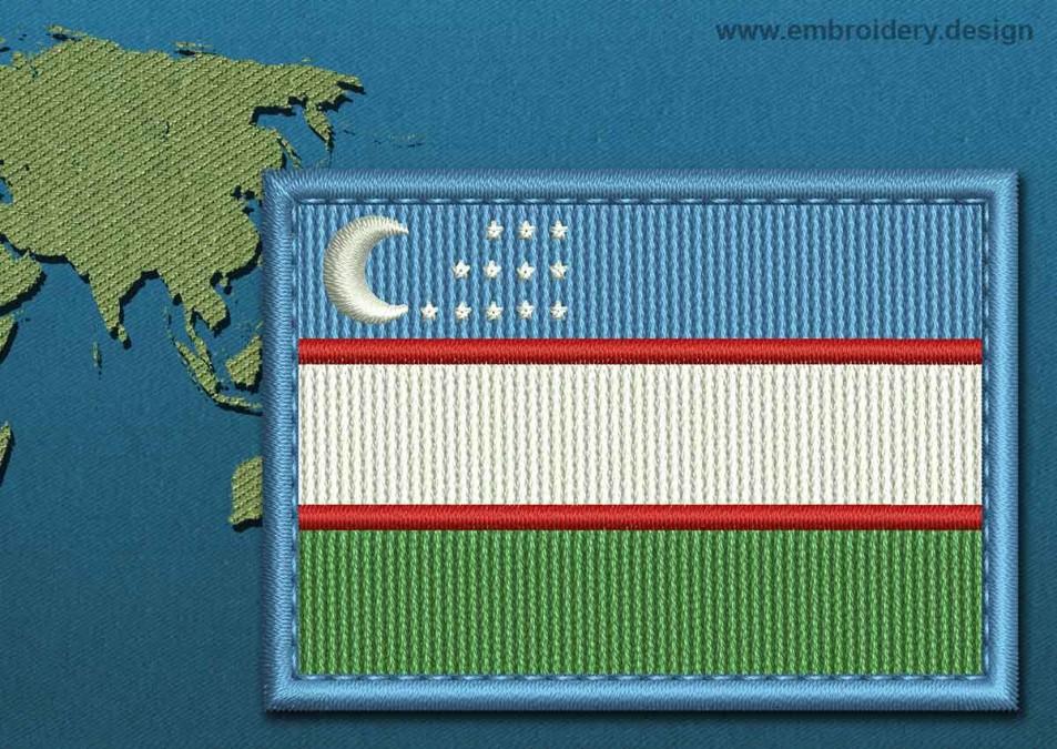 Uzbekistan Rectangle Flag with a Colour Coded Border