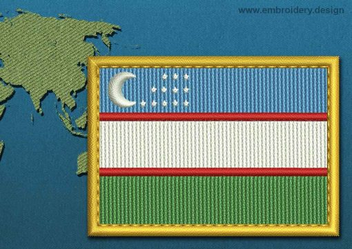 This Flag of Uzbekistan Rectangle with a Gold border design was digitized and embroidered by www.embroidery.design.