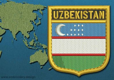 This Flag of Uzbekistan Shield with a Gold border design was digitized and embroidered by www.embroidery.design.