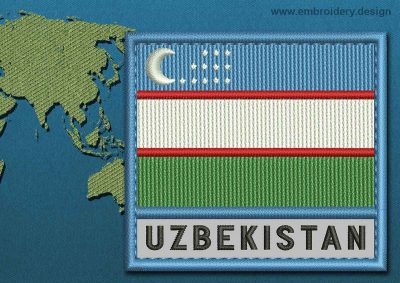 This Flag of Uzbekistan Text with a Colour Coded border design was digitized and embroidered by www.embroidery.design.