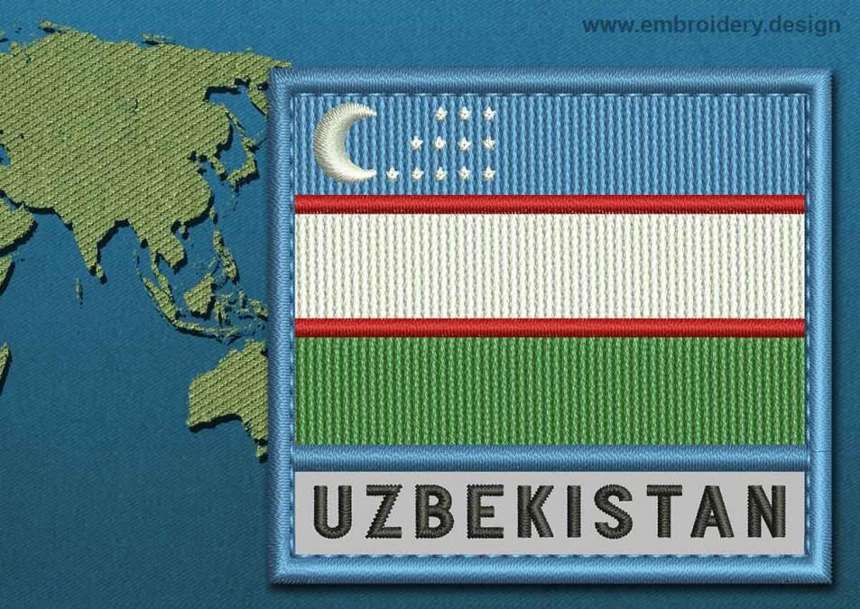 Uzbekistan Text Flag with a Colour Coded Border