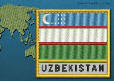 This Flag of Uzbekistan Text with a Gold border design was digitized and embroidered by www.embroidery.design.
