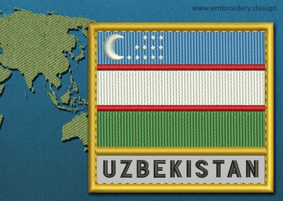 Uzbekistan Text Flag with a Gold Border
