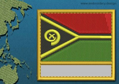 This Flag of Vanuatu Customizable Text  with a Gold border design was digitized and embroidered by www.embroidery.design.