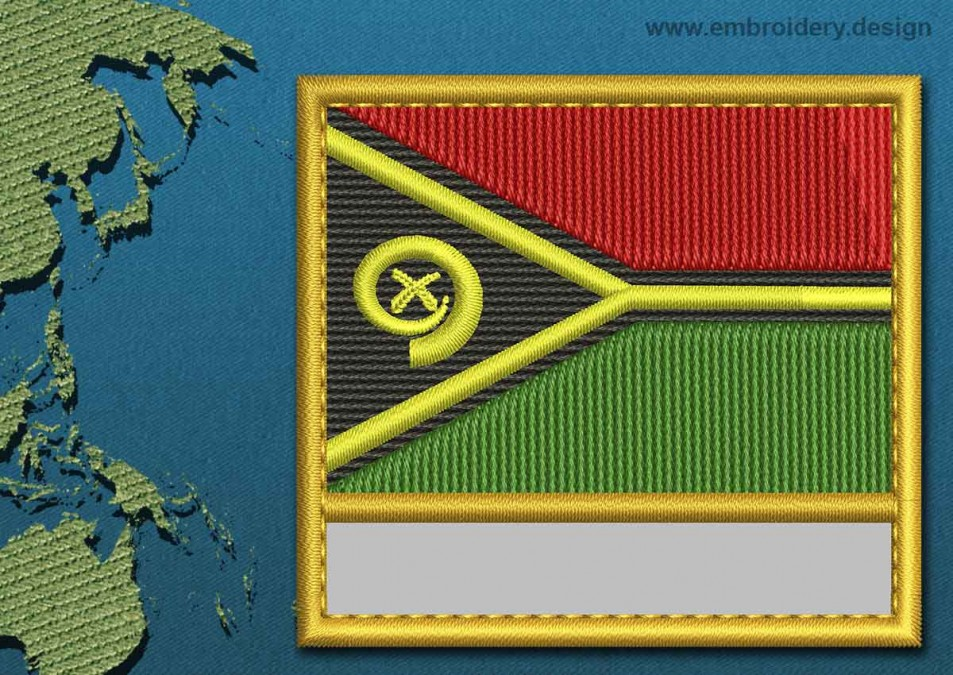 Vanuatu Customizable Text Flag with a Gold Border