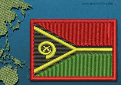 This Flag of Vanuatu Rectangle with a Colour Coded border design was digitized and embroidered by www.embroidery.design.