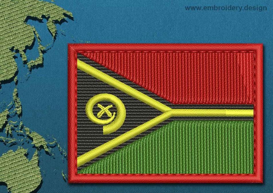 Vanuatu Rectangle Flag with a Colour Coded Border