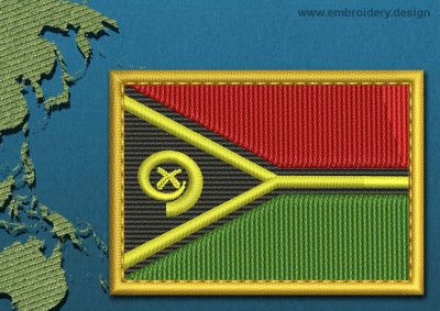This Flag of Vanuatu Rectangle with a Gold border design was digitized and embroidered by www.embroidery.design.