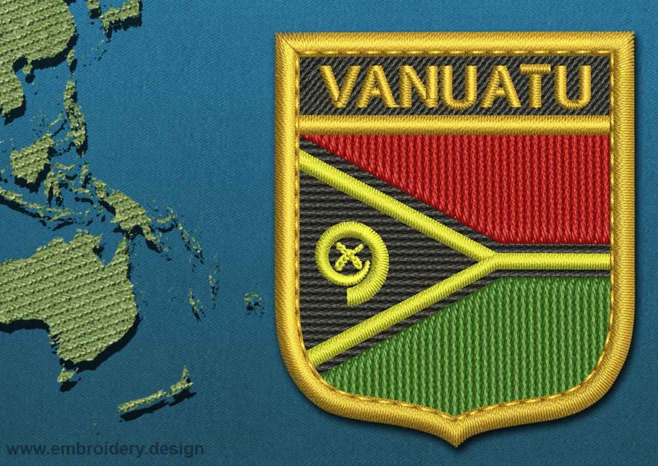 Vanuatu Shield Flag with a Gold Border