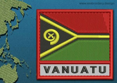 This Flag of Vanuatu Text with a Colour Coded border design was digitized and embroidered by www.embroidery.design.