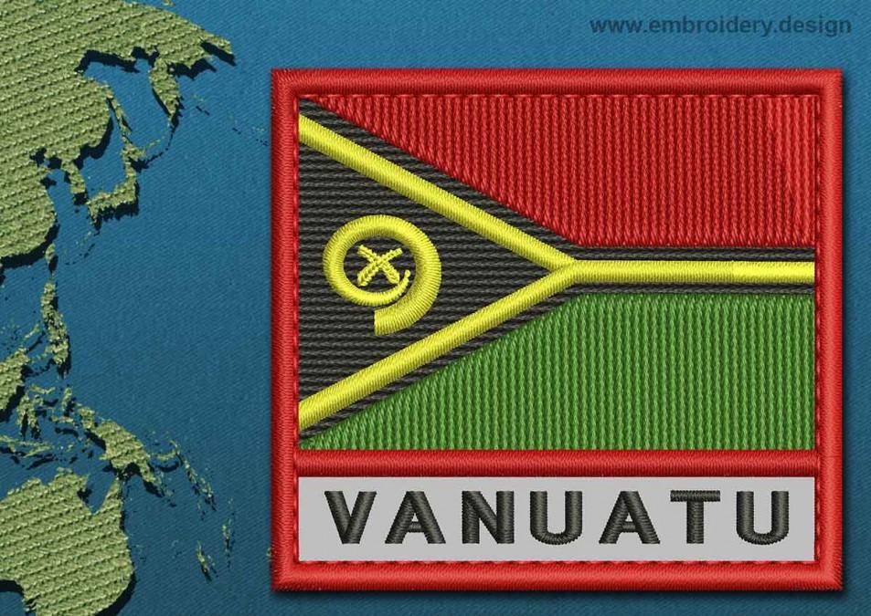 Vanuatu Text Flag with a Colour Coded Border