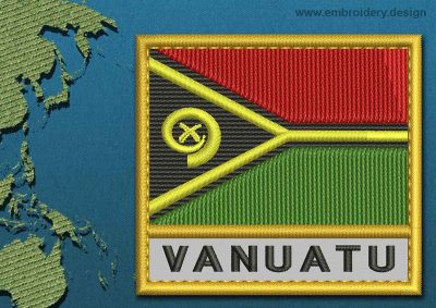 This Flag of Vanuatu Text with a Gold border design was digitized and embroidered by www.embroidery.design.