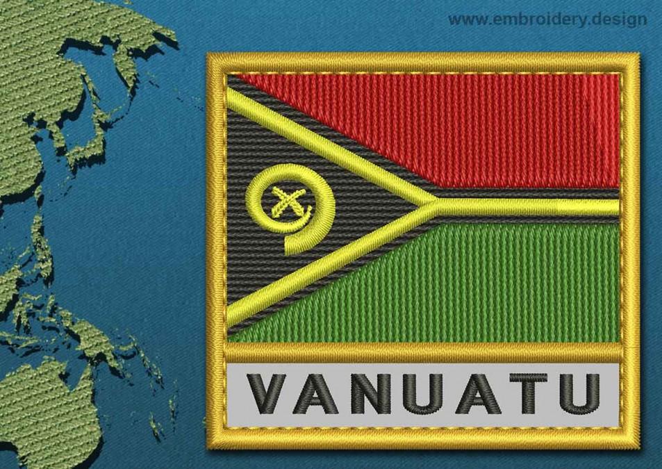 Vanuatu Text Flag with a Gold Border