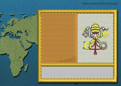 This Flag of Vatican Customizable Text  with a Gold border design was digitized and embroidered by www.embroidery.design.