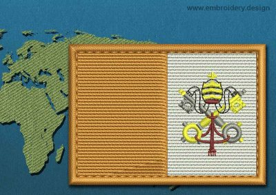This Flag of Vatican Rectangle with a Colour Coded border design was digitized and embroidered by www.embroidery.design.