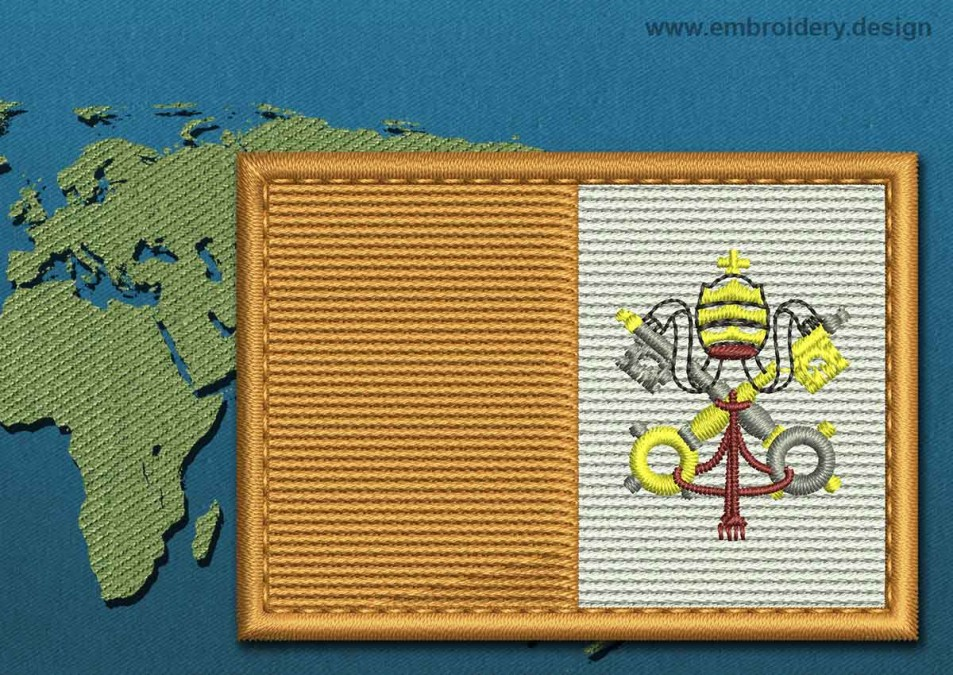 Vatican Rectangle Flag with a Colour Coded Border