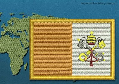 This Flag of Vatican Rectangle with a Gold border design was digitized and embroidered by www.embroidery.design.