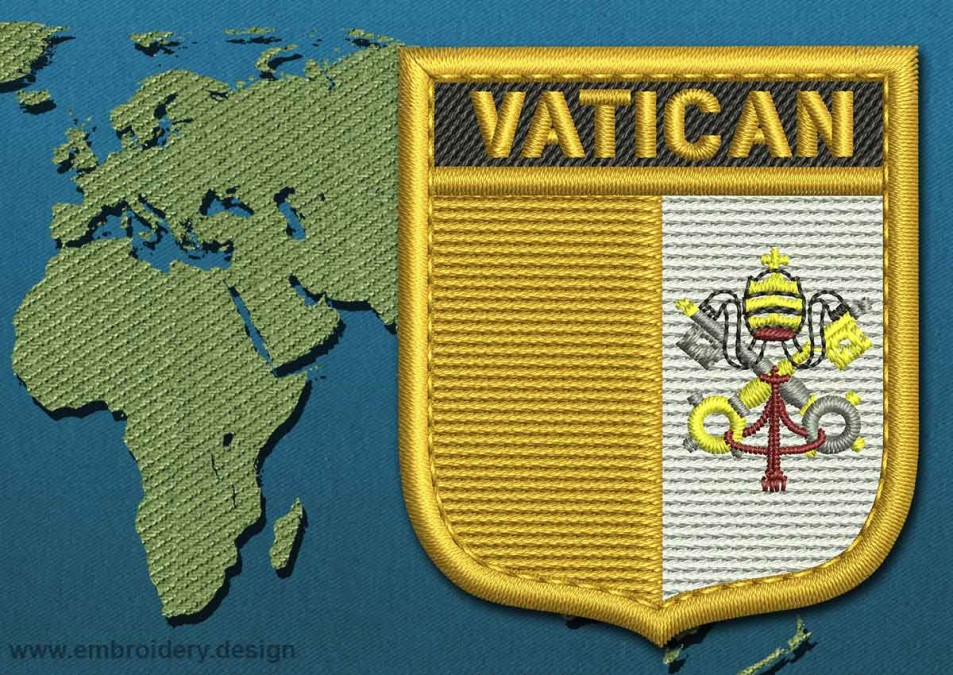 Vatican Shield Flag with a Gold Border