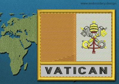 This Flag of Vatican Text with a Gold border design was digitized and embroidered by www.embroidery.design.
